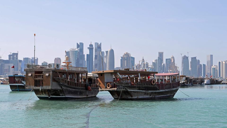 A general view of boats sitting in the port along the corniche in Doha. Arab nations, including Saudi Arabia and Egypt, cut ties with Qatar, accusing it of supporting extremism, in the biggest diplomatic crisis to hit the region in years.