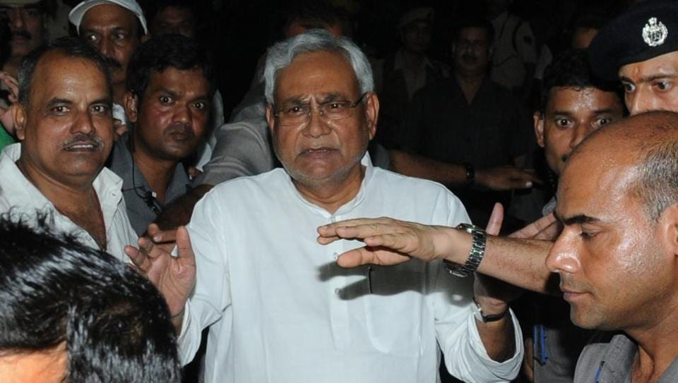 Nitish Kumar speaks to the media after submitting his resignation at Raj Bhawan in Patna.
