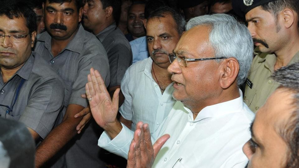 Bihar chief minister Nitish Kumar speaks to media after submitting his resignation.