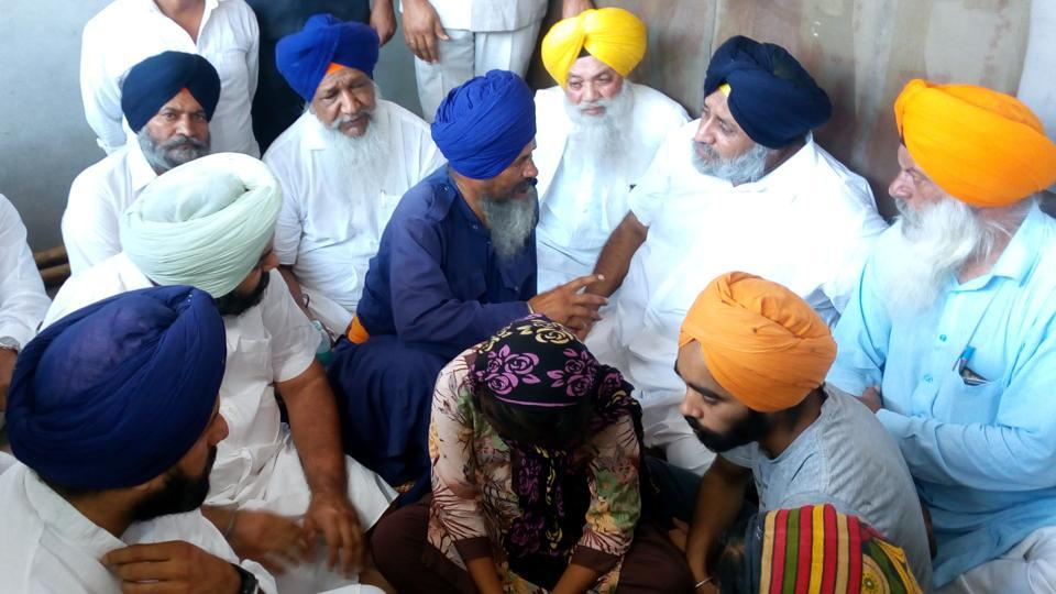 Former deputy chief minister Sukhbir Badal during  his visit to Terah Kalan in Amritsar on Wednesday.