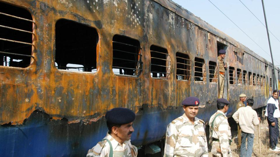 Burnt boggies of Delhi-Atari train which caught fire after the blast, 66 passengers died at Diwana in Panipat.