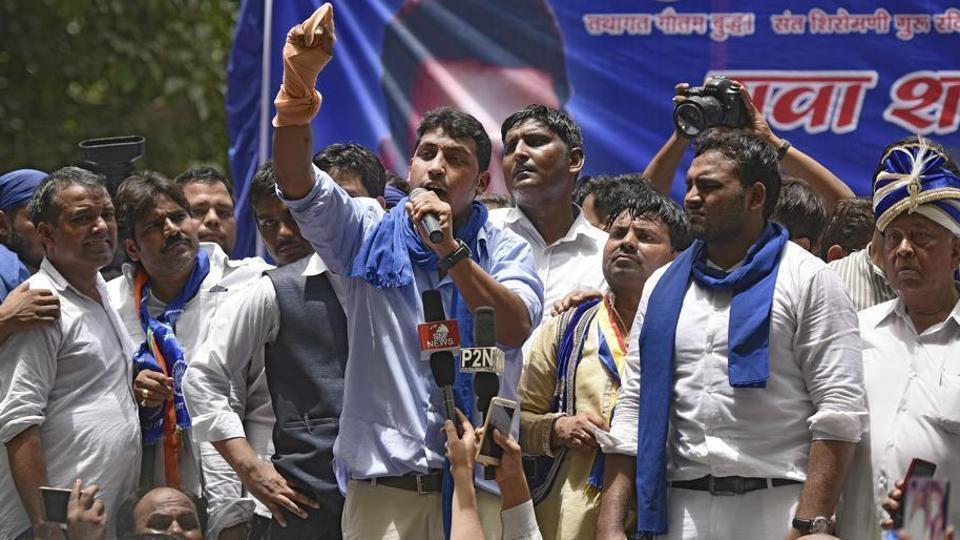 Chandrashekhar shot to limelight after holding a demonstration at Jantar Mantar in New Delhi against violence on Dalits in Saharanpur.