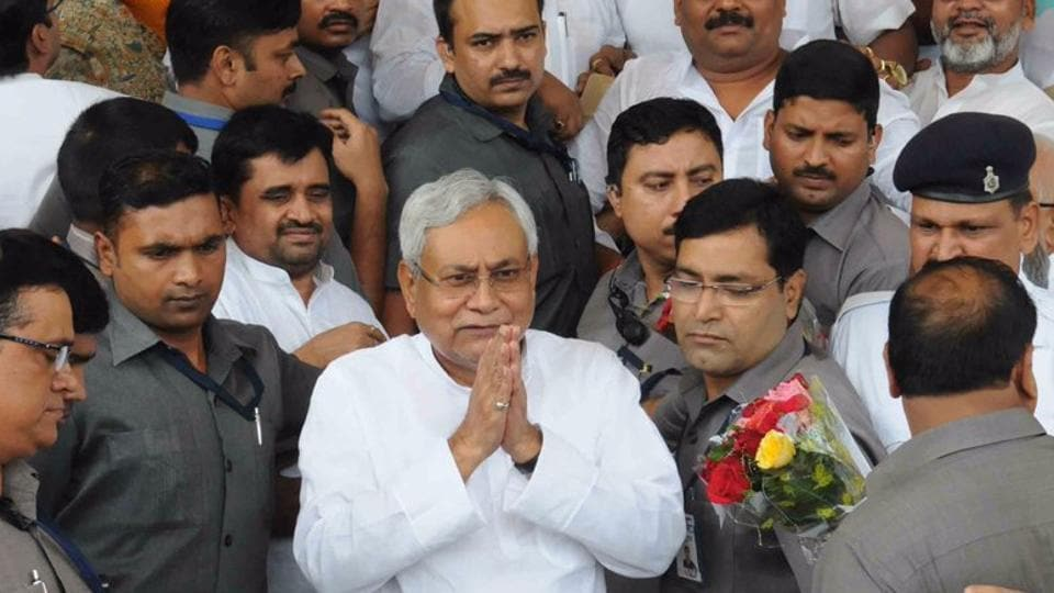 Bihar chief minister Nitish Kumar outside the legislative assembly after winning the trust vote.