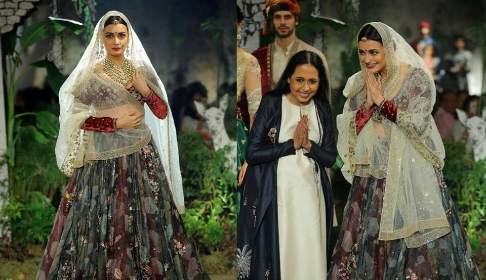 Dia Mirza looked regal on the Delhi ramp as she walked for designer Anju Modi.