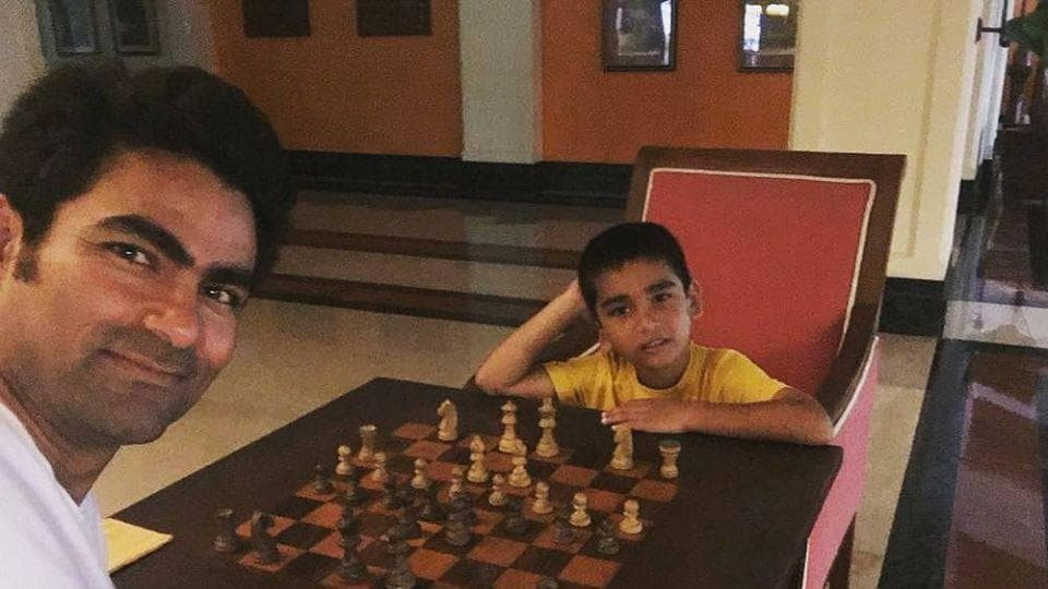 Mohammad Kaif posted this photo of playing chess with his son on social media.