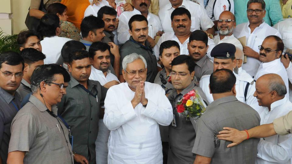 Nitish Kumar after winning the trust vote in the Bihar assembly in Patna on Friday. (AP Dube / HT Photo)