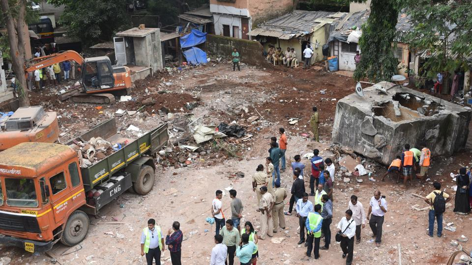 The debris at the Ghatkopar site being cleared.