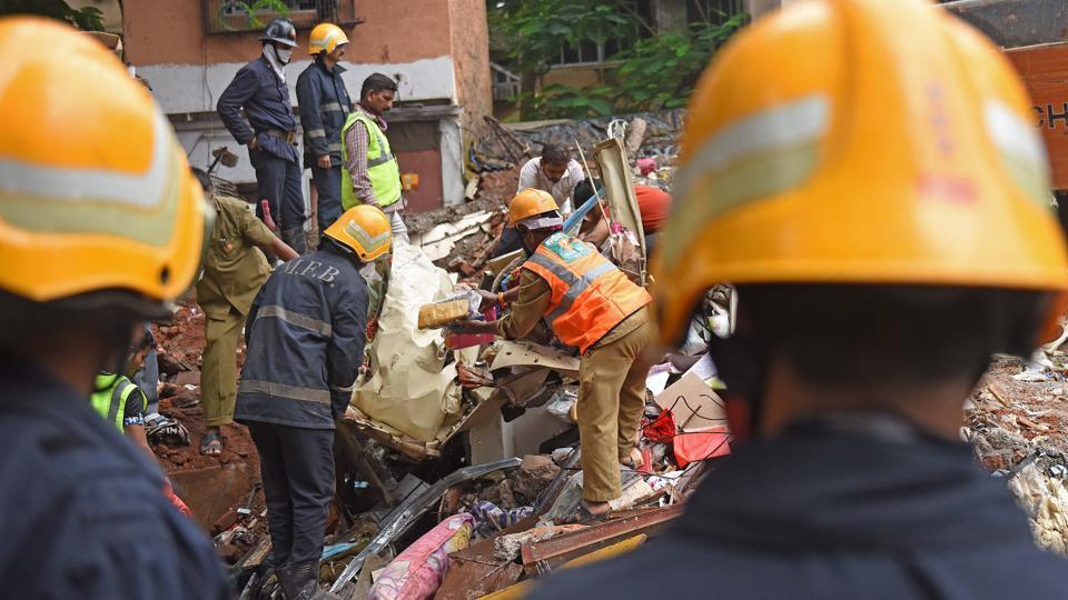 The spot where the Ghatkopar building collapsed.
