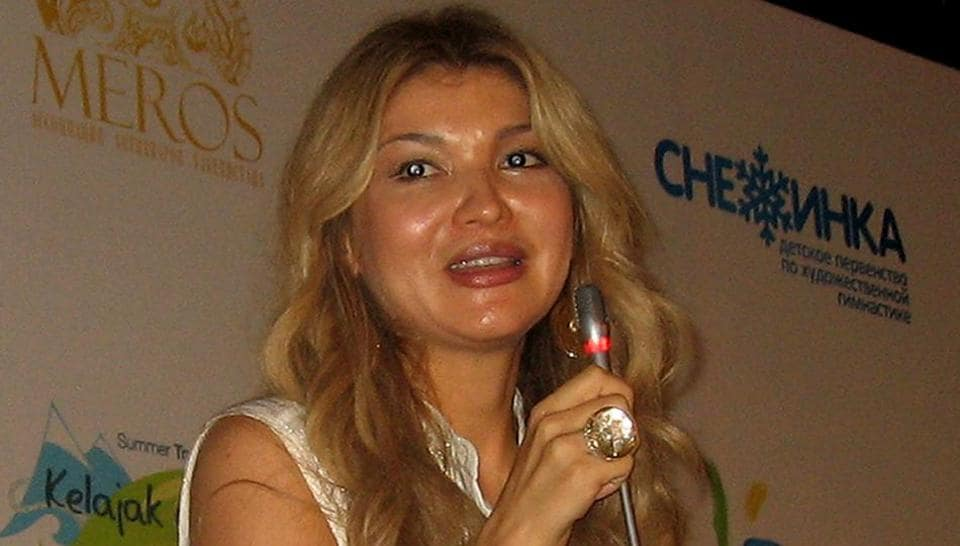 This file photo taken on August 17, 2012 shows Gulnara Karimova, the eldest daughter of the late Uzbekistan's president Islam Karimov, as she speaks during a press conference at her foundation's summer camp for young Uzbek journalists in the town of Chirchik, outside the Uzbek capital near Tashkent.