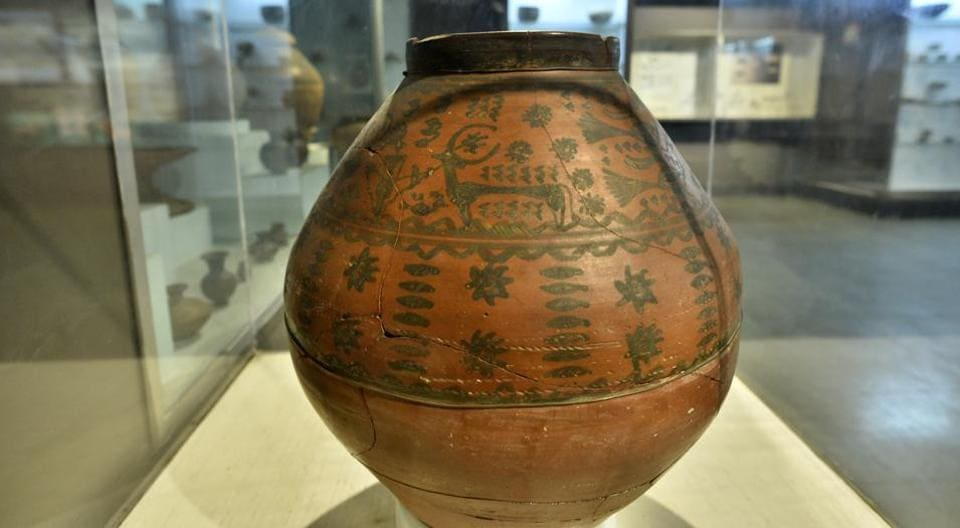 A painted burial jar on display at the Harappan Civilisation Gallery at the National Museum, Delhi.