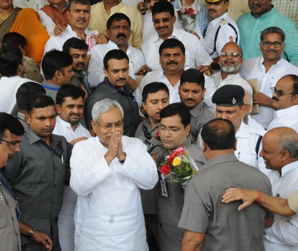 Bihar chief minister Nitish Kumar with his MLAs at the Bihar assembly, in Patna on Friday.