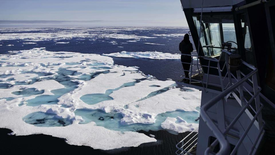 MSV Nordica sails through ice floating on the Chukchi Sea off the coast of Alaska while traversing the Arctic's Northwest Passage, a treacherous, ice-bound route where Norwegian explorer Roald Amundsen made the first successful transit in 1906. (David Goldman / AP)
