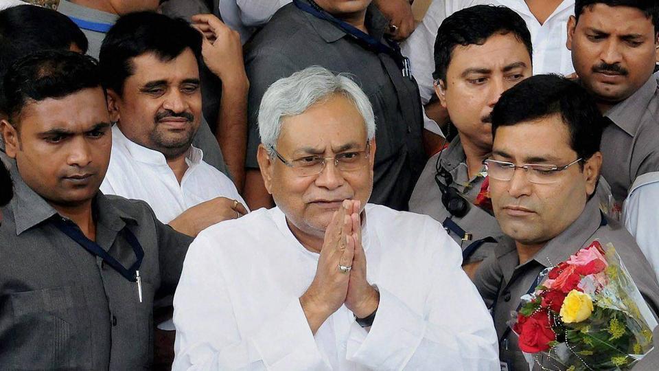 Bihar Chief Minister Nitish Kumar arrives at Bihar Vidhan Sabha in Patna on Friday.