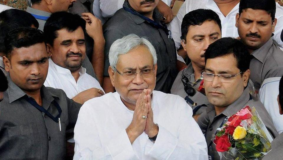 Bihar chief minister Nitish Kumar arrives at Bihar Vidhan Sabha in Patna on Friday.