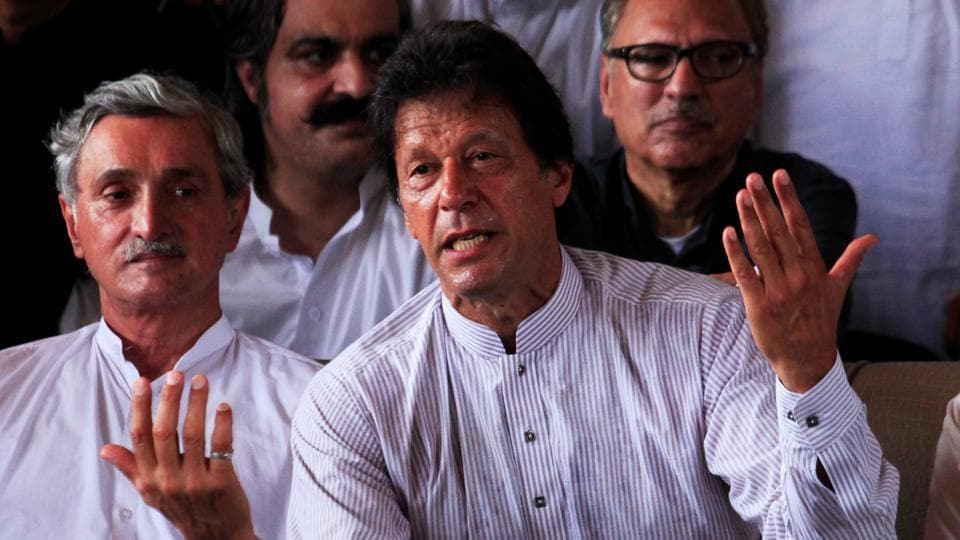Opposition leader Imran Khan addresses a news conference after the Supreme Court's decision to disqualify Prime Minister Nawaz Sharif in Islamabad, Pakistan July 28, 2017.