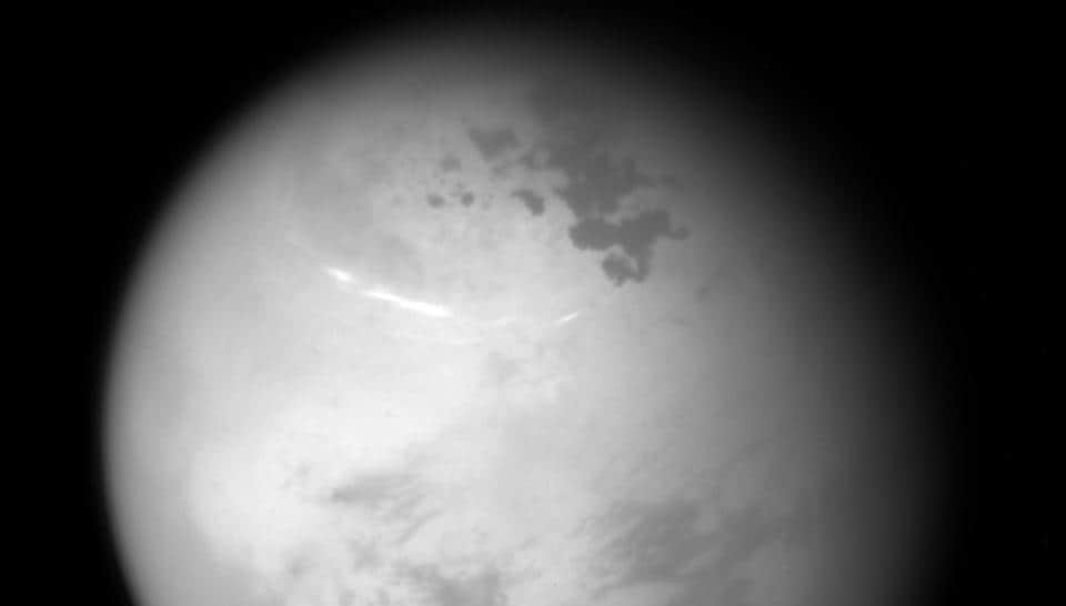 This NASA image released June 15, 2017 was taken with the Cassini spacecraft narrow-angle camera on June 9, 2017, as Cassini obtained the view at a distance of about 315,000 miles (507,000 kilometers) from Saturn's moon Titan.
