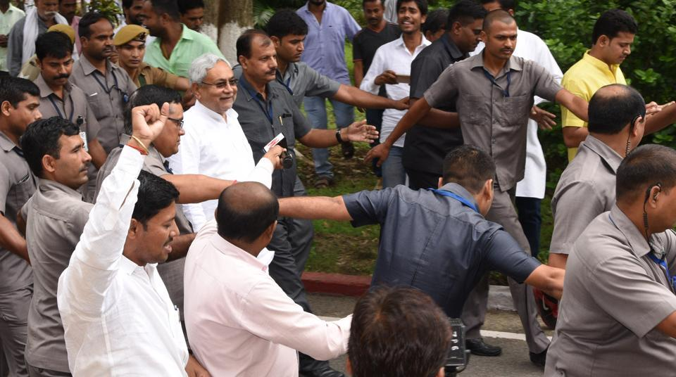 Bihar chief minister Nitish Kumar leaves Raj Bhawan after taking oath as chief minister in Patna on July 27, 2017.