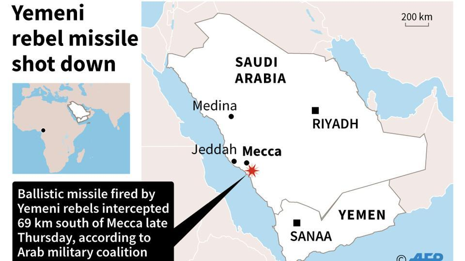 Map of Saudi Arabia locating Mecca. A ballistic missile fired by Yemeni rebels was shot down late Thursday close to Mecca, the Arab military coalition fighting in Yemen said.