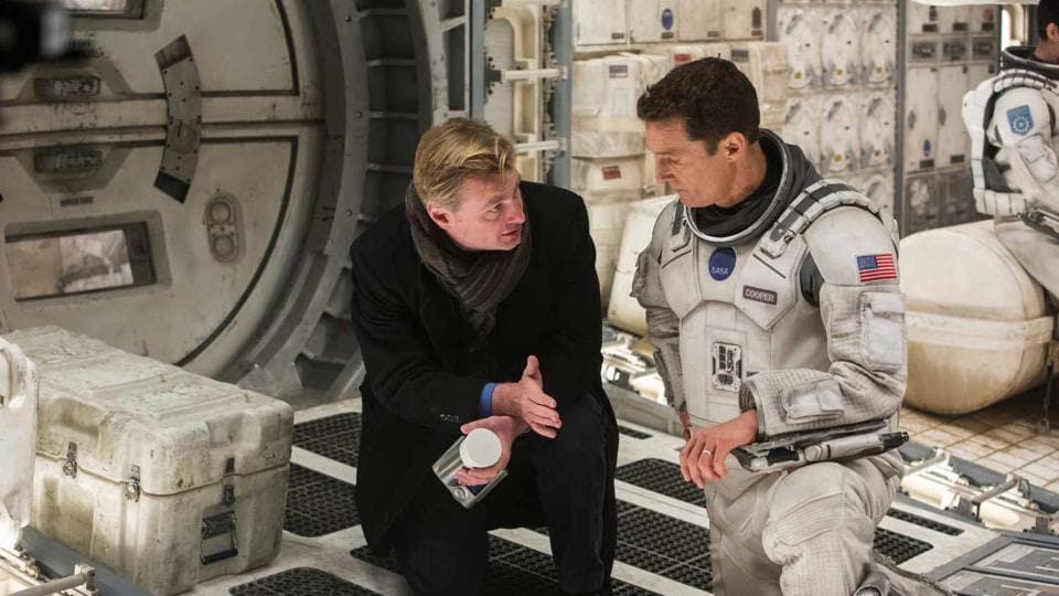 Christopher Nolan with Matthew McConaghuey on the sets of Interstellar.
