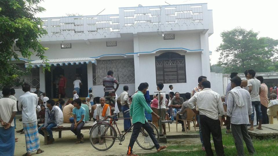 The crowd outside the house of RJDyouth leader Minhaj Khan, who was gunned down in Bihar's  Siwan district early Saturday.