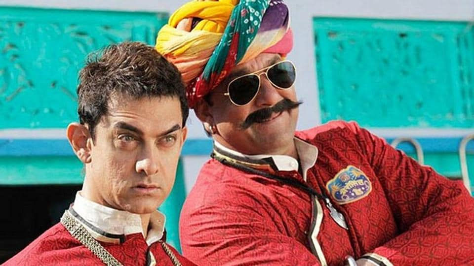 Aamir Khan and Sanjay Dutt in a still from the film.