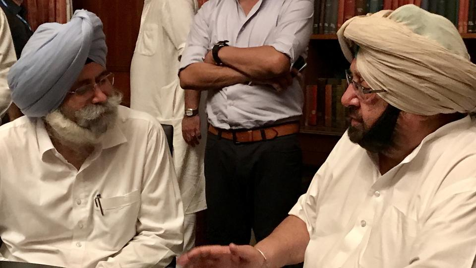 AAP MLA HS Phoolka (left), and Punjab chief minister Amarinder Singh.