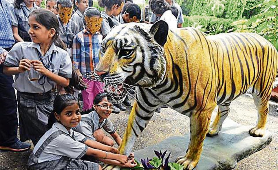 Schoolchildren tie rakhi to the model of a Royal Bengal Tiger during the International Tiger Day at Delhi Zoo on Saturday.