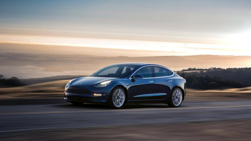A Tesla Model 3 sedan is seen in this undated handout image as the car company handed over its first 30 Model 3 vehicles to employee buyers at the company's Fremont facility in California, US on July 28, 2017.