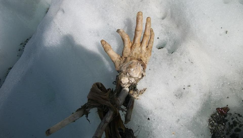 This handout picture released on July 28, 2017, by Daniel Roche, who discovered body remains on the Mont Blanc, shows a hand, which could belong to a victim of one of two Air India crashes which occurred in 1950 and 1966, on the Mont Blanc massif, French Alps.