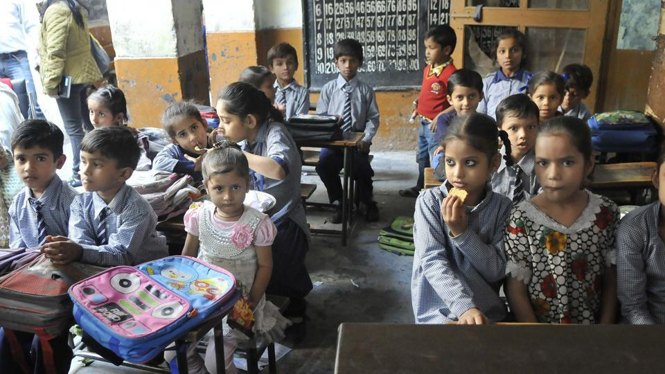 Students in their classroom at a government school in Ludhiana. Most children followed during the survey were attending a preschool at age 4, whether government-run Anganwadis or privately managed preschools.