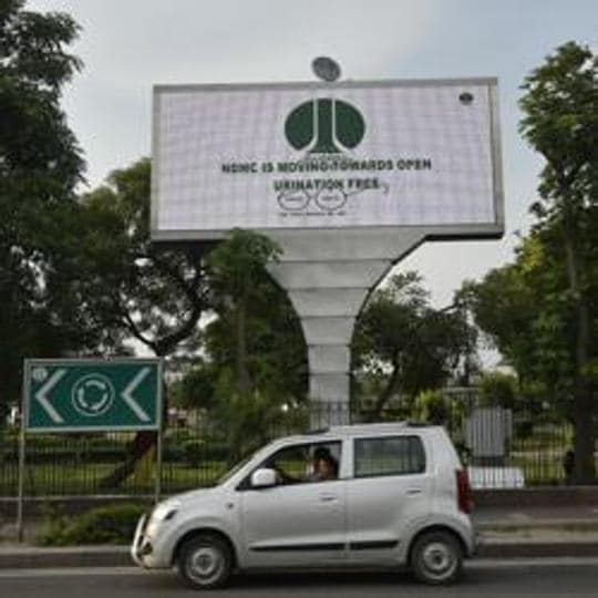 New Delhi, India - July 28, 2017: Giant outdoor screen at Connaught Place in New Delhi, India, on Friday, July 28, 2017. (Photo by Ravi Choudhary/ Hindustan Times) to go with Ritam story