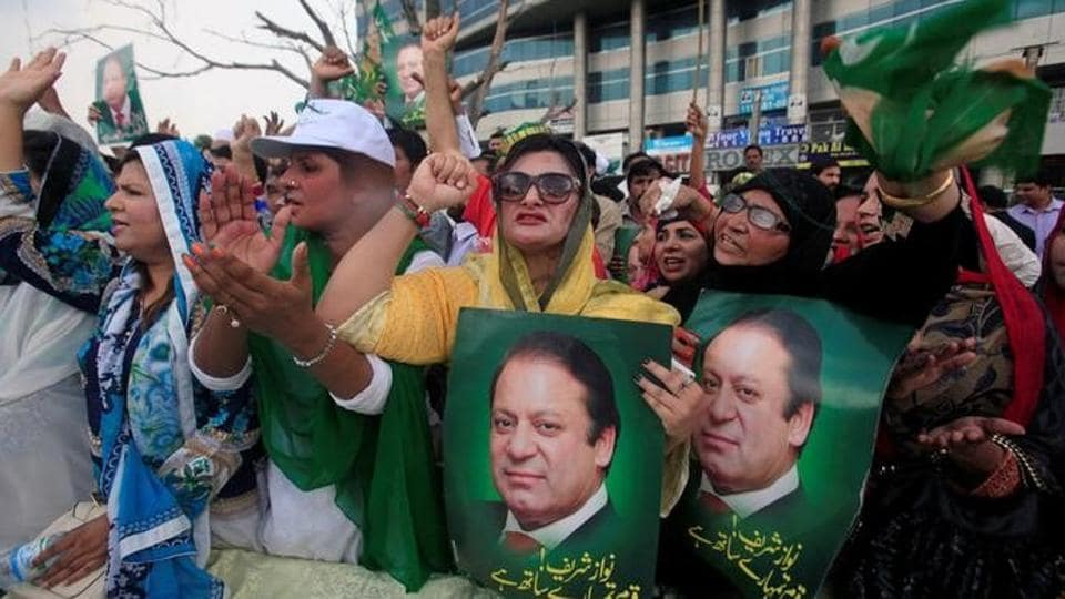 Supporters of Pakistan's Prime Minister Nawaz Sharif react after the Supreme Court's decision to disqualify Sharif, in Lahore, Pakistan July 28, 2017.