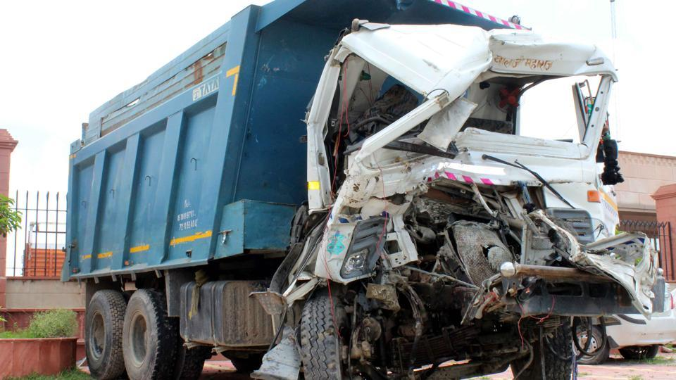According to police, the accident took place around 4am on Saturday, when a speeding dumper crashed into a stationary truck near Gautam Budh University on Yamuna Expressway.