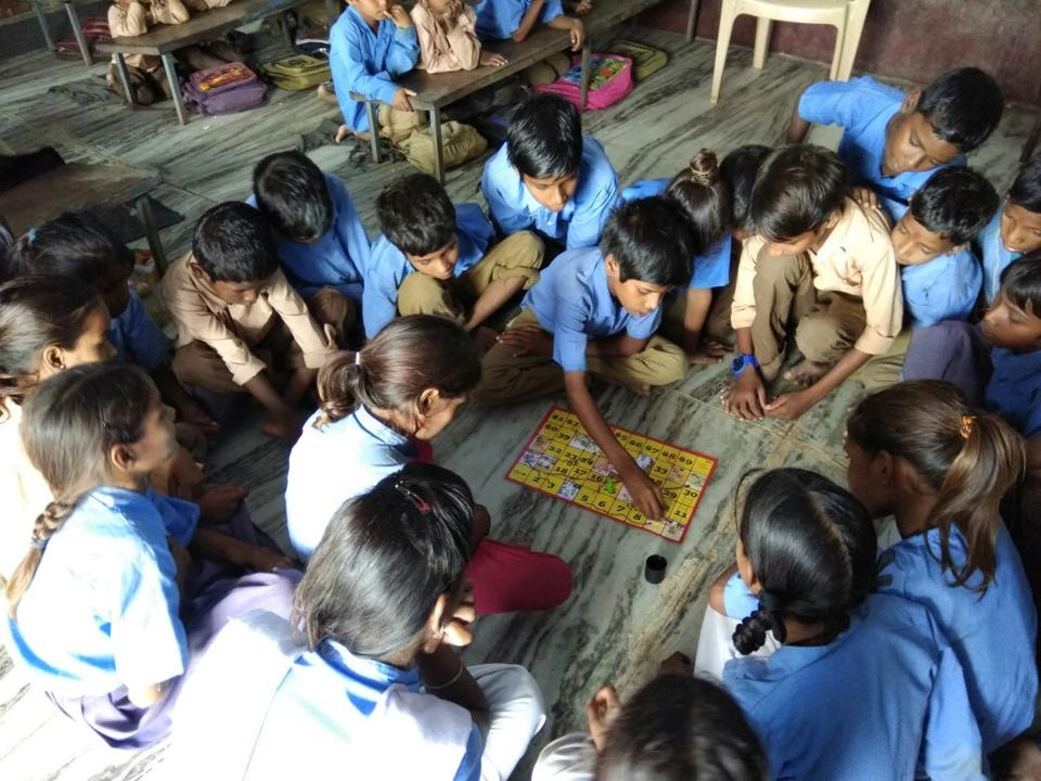 Primary school children in Rajasthan are learning a new set of words in  Hindi and English alphabet  with pictures and names of different articles related to the importance of sanitation.