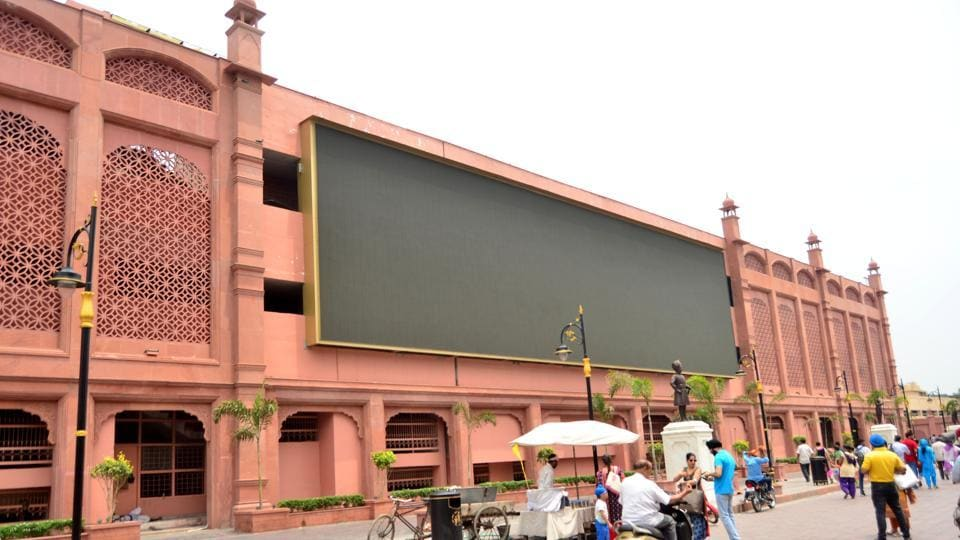 A huge LED screen lying unused at the Heritage Street near the Golden Temple in Amritsar on Saturday.