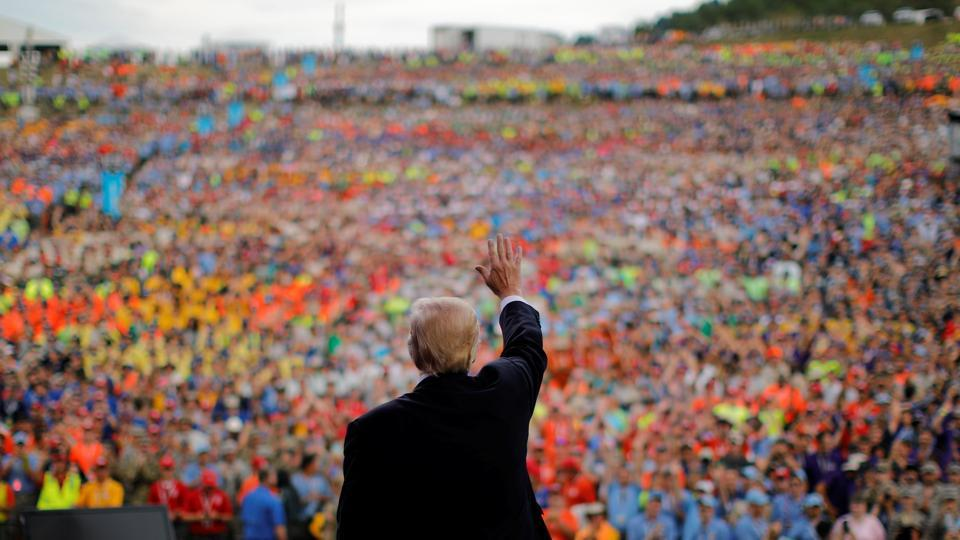 U.S. President Donald Trump waves after delivering remarks at the 2017 National Scout Jamboree in Summit Bechtel National Scout Reserve, West Virginia, U.S. (REUTERS)