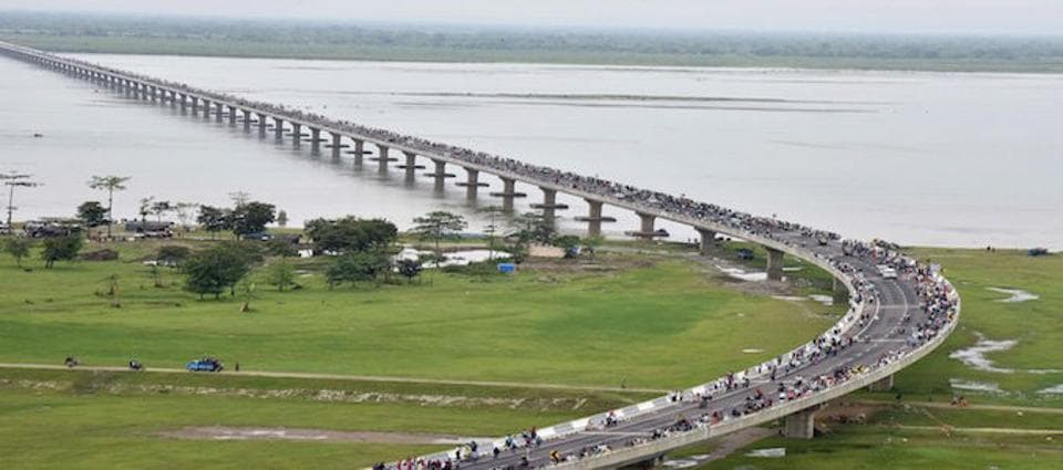 An aerial view of the Bhupen Hazarika Setu, India's longest bridge.