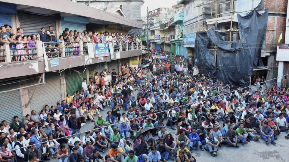 Gorkhaland supporters take part in a mass rally at Mirik in Darjeeling on Sunday.