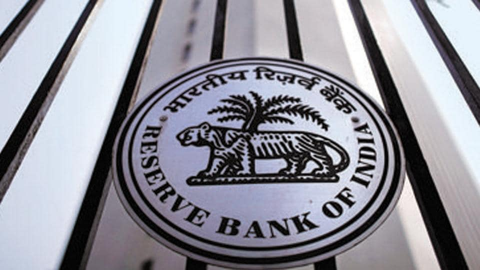 The Reserve Bank of India seal is pictured on a gate outside the RBI headquarters in Mumbai.