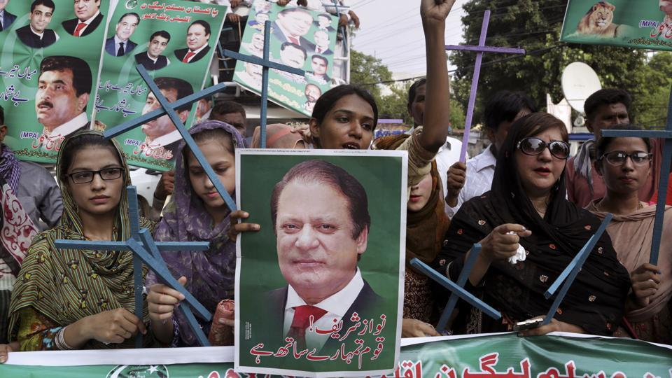 Supporters of Pakistan's deposed Prime Minister Nawaz Sharif chant slogans at a rally to condemn the dismissal of their leader.