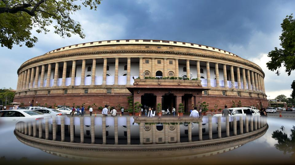 Legislators arrives at the parliament building during the Monsoon session at Parliament House  on Monday, July 24. (Raj K Raj/HT PHOTO)