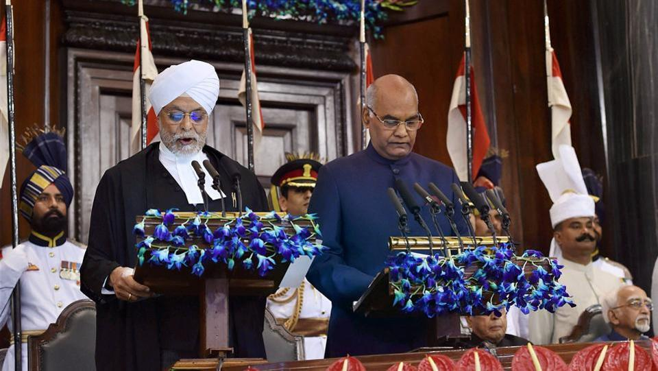 Ram Nath Kovind being sworn-in as the 14th President of India by the Chief Justice of India, Justice JS Khehar at a special ceremony in the Central Hall of Parliament in New Delhi on Tuesday. (PTI)