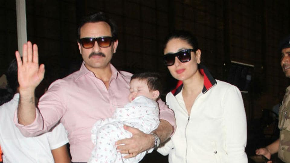 Actors Saif Ali Khan and Kareena Kapoor Khan with their seven-month-old baby Taimur, while going on a vacation.