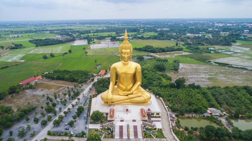 Big golden Buddha statue in Angthong province in Thailand.