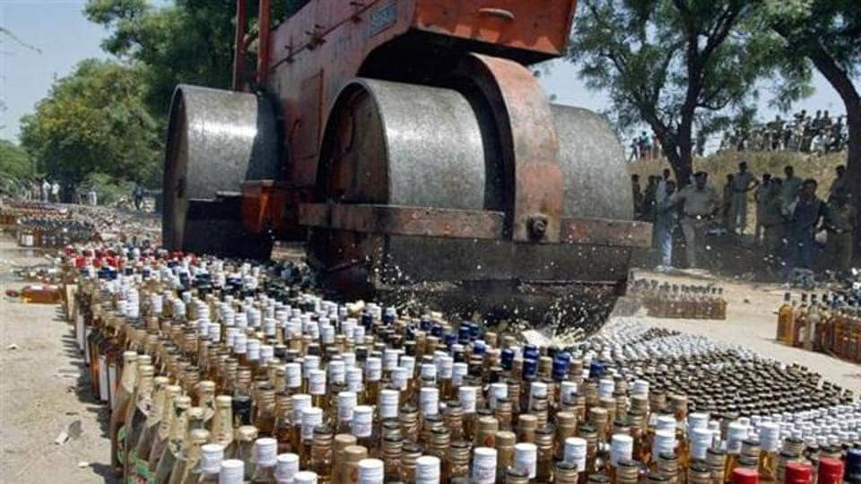 Liquor bottles are destroyed in Bihar after the ban came into effect in April, 2016