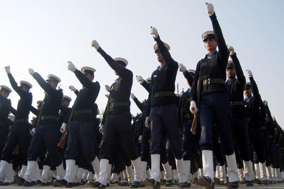 Navy officers rehearsing for Republic Day parade in Noida, Uttar Pradesh.
