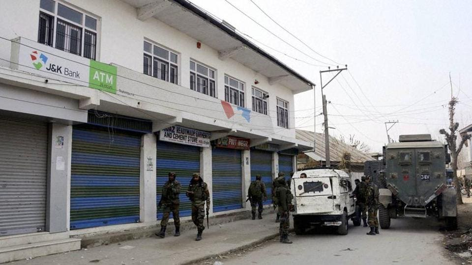 At least three masked gunmen looted a Jammu and Kashmir Bank branch in Anantnag district of Kashmir.