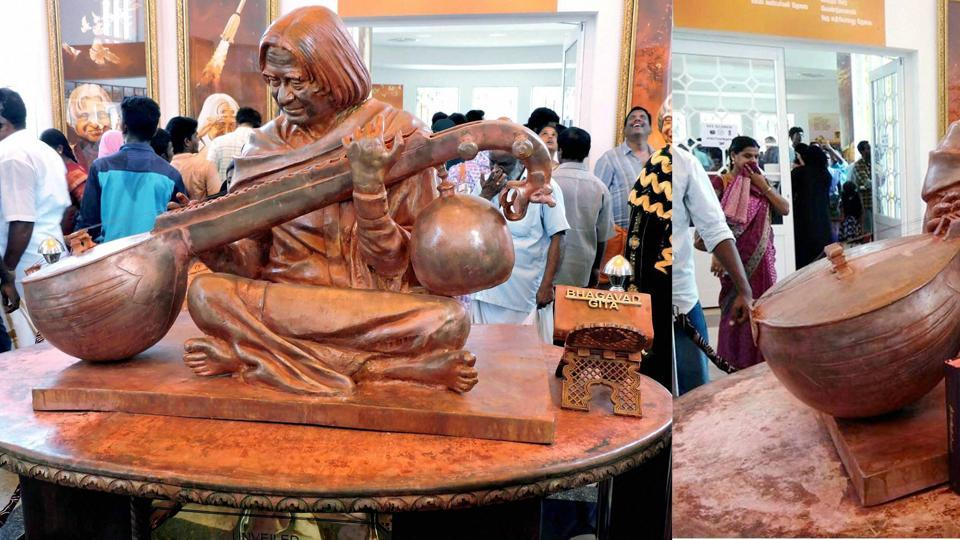 Two days after Prime Minister Narendra Modi unveiled his memorial in Rameswaram on his second death anniversary, an ungainly controversy appears to be have erupted over the placement of an engraved Bhagvad Gita next to a wooden statue of former president APJ Abdul Kalam.