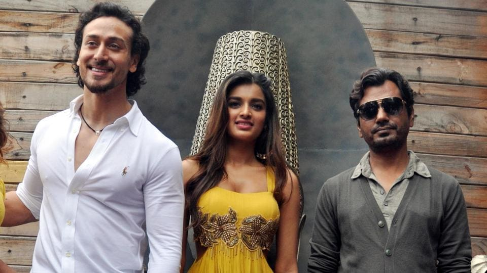Nidhhi Agerwal, Tiger Shroff and Nawazuddin Siddiqui during a press conference to promote Munna Michael in Jaipur.