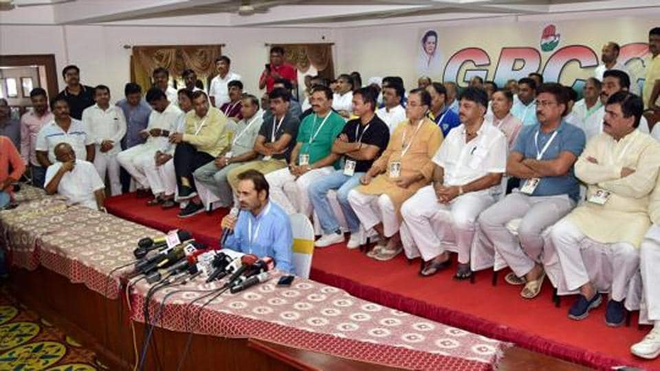 Gujarat Congress MLAs during a press conference at a resort on the outskirts of Bengaluru on Sunday.